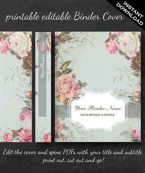 printable editable french country vintage rose binder