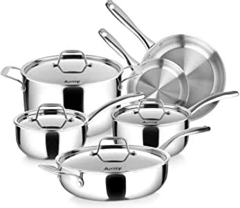 amazoncom duxtop  clad tri ply stainless steel induction cookware set pc kitchen pots