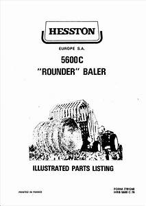 Hesston 5600c Parts Manual For Round Baler Service