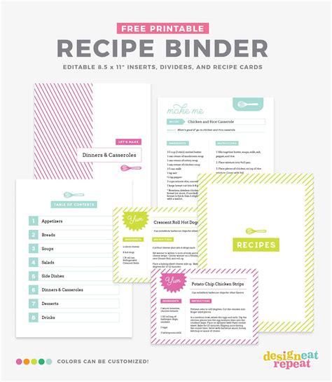 diy recipe book   printable recipe binder kit