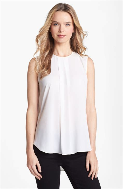 the blouse vince camuto center pleat sleeveless blouse in white