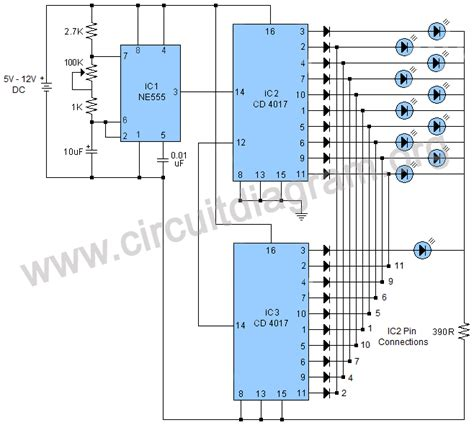 11 led rider project circuit diagram