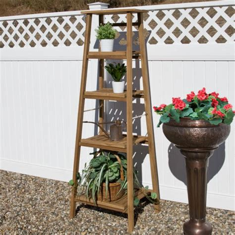 tiered ladder style teak plant stand outdoor