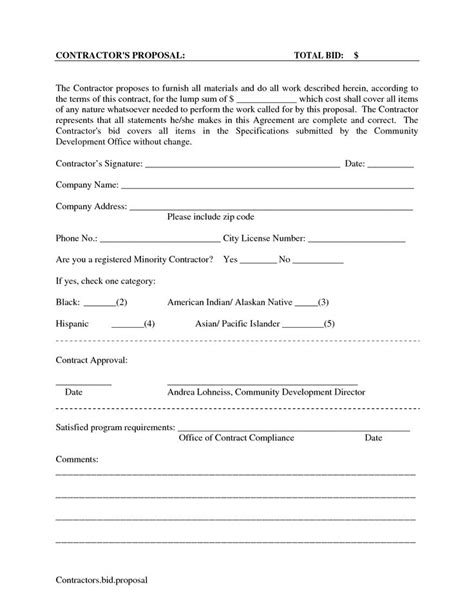 Staging Contract Template Free Independent Printable Blank Bid Forms Scope Of Work