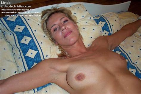 Horny Blonde Girl Linda Gets Tied Spread On XXX Dessert
