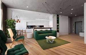 Minimalist, Apartment, Decorated, With, Shades, Of, Forest, Green
