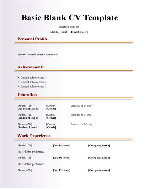 Basic Curriculum Vitae Template by Basic Blank Cv Resume Template For Fresher Free