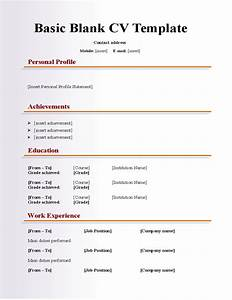 Basic blank cv resume template for fresher free download for Basic cv templates