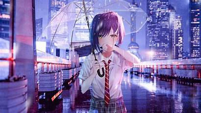 Anime Umbrella Rain Cry Transparent Lofi Mobile