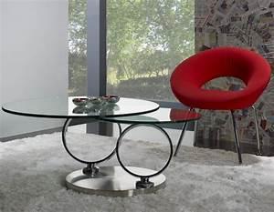 Table Basse En Verre Ronde : table basse ronde en verre socle inox meuble en choisir le bois massif ~ Teatrodelosmanantiales.com Idées de Décoration