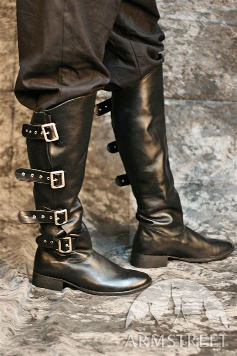 handmade medieval high leather boots  clasps pirate