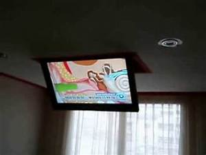 Fernseher An Wand Montieren : fernseher in der zimmerdecke eingebaut youtube ~ A.2002-acura-tl-radio.info Haus und Dekorationen