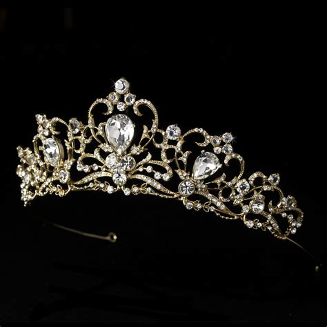 Wedding Tiaras by Gold Rhinestone Bridal Wedding Prom Quinceanera Sweet 16