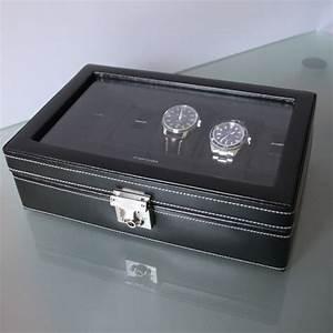Coffret Rangement Montre : coffret 10 montres vitre et cuir noir friedrich boutique parisienne ~ Teatrodelosmanantiales.com Idées de Décoration