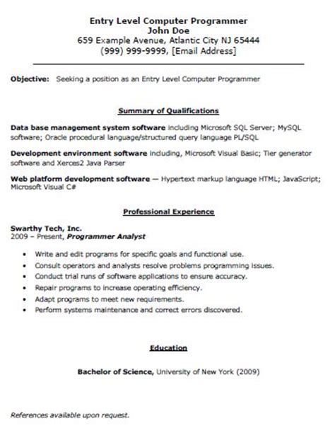 Entry Level Programmer Objective Resume by Entry Level Computer Programmer Resume The Resume