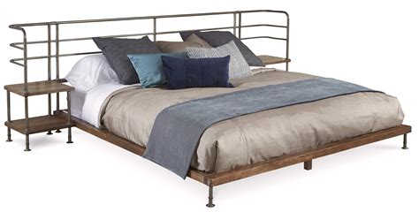 Williamsburg Industrial Platform Queen Bed With Two Built