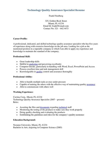 sle resume quality assurance instrument and