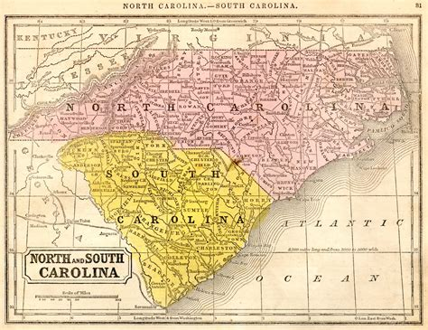 south nc 1851 reference map north and south carolina