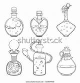 Potion Magic Outline Bottle Drawing Tattoo Vector Illustrations Drawings Coloring Reference Pencil Sketches Science Soresi sketch template