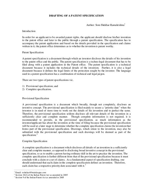 drafting   patent specification