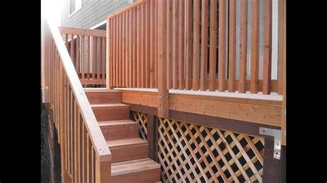 wood deck stair railing designswood deck stair railing designs youtube