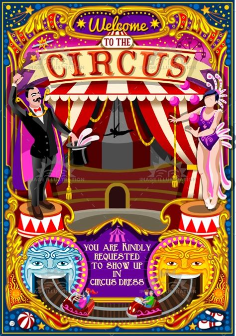 circus carnival tent invite theme park poster vector