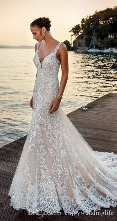 Ivory Deep V Neck Mermaid Wedding Dress Full Lace ...