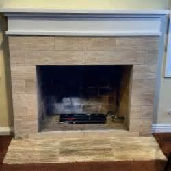 Travertine Tile Fireplace Surround