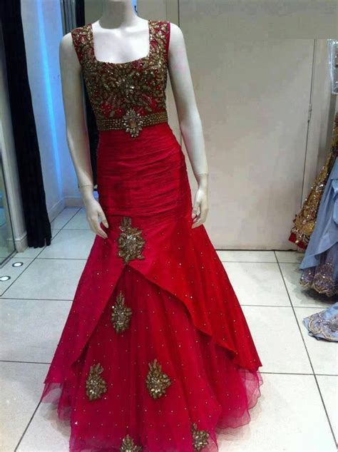 red silk gown indo western gown indian wedding reception