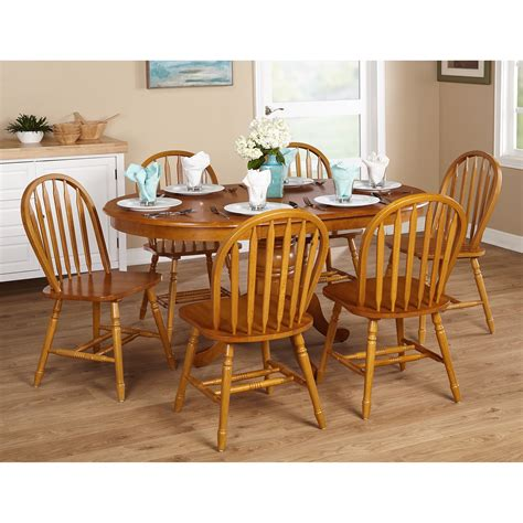 oak dining set  piece farmhouse wood home room kitchen