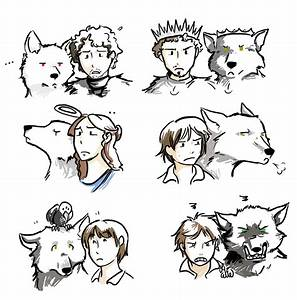 House Stark images Stark Children (with their direwolves ...