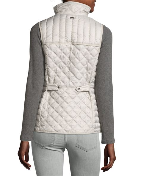 quilted puffer vest marc new york ellis quilted puffer vest in pink lyst
