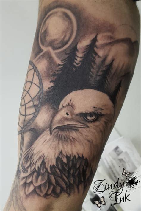 bald eagle dreamcatcher tattoo zindy ink tattoo artist illustrator