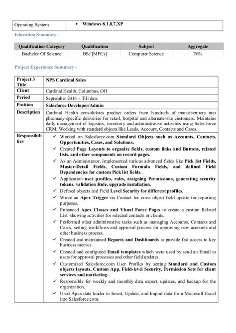 Salesforce Developer Resume Summary by Salesforce Developer Resume