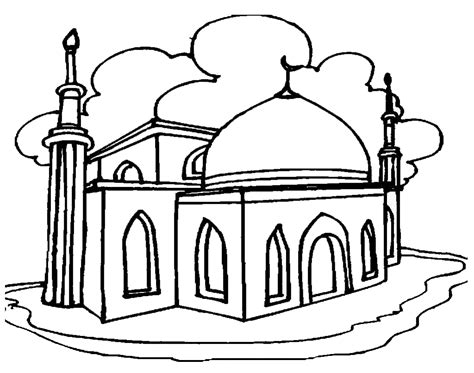 contoh gambar mewarnai masjid anak