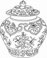 Coloring Pages Vase Adults Adult Flower Vases Pot Printable Pots Dover Colouring Chinese Complicated Drawing Publications Zentangle Simple Doverpublications China sketch template