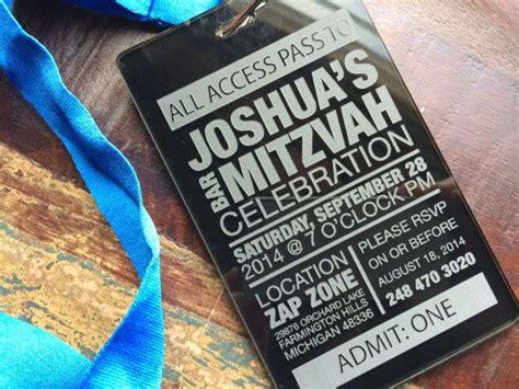 vip pass bar mitzvah invitation boy birthday party invite