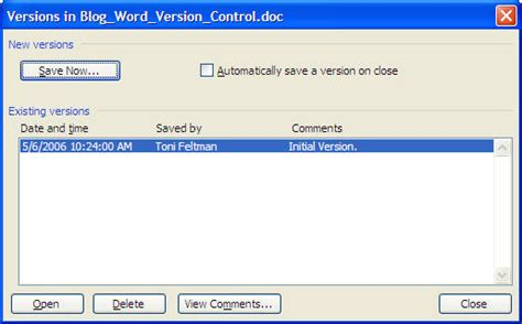 Version Control In Ms Word