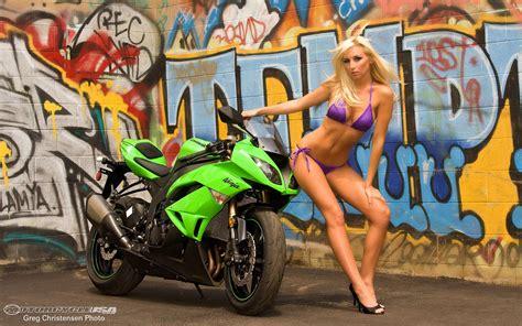Motorcycles Images Hot Babe & Kawasaki Zx-6r Hd Wallpaper