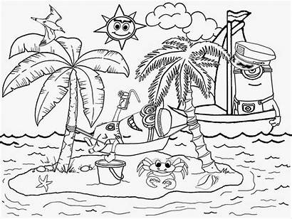 Minions Beach Coloring Pages Printable Adult Cartoon