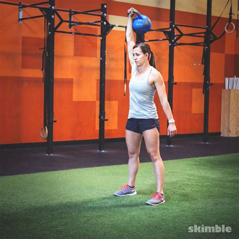 squat kettlebell right clean thrusters exercise swing press workout skimble step equipment