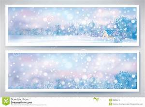 Vector Of Winter Snow Scene Banners. Stock Vector - Image ...