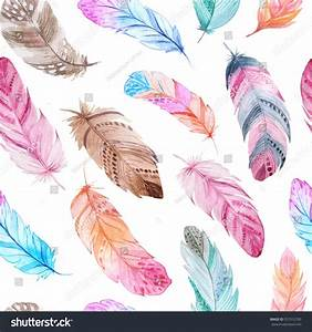 Seamless Pattern Isolated Watercolor Feathers Hand Stock