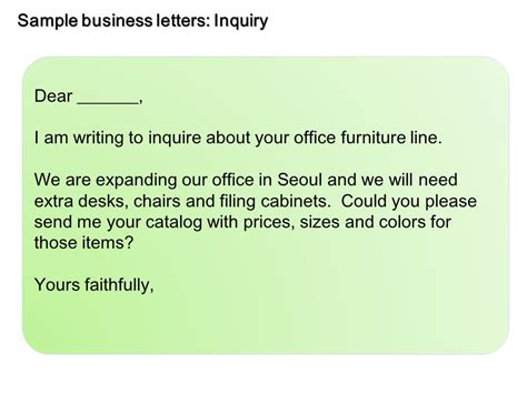 sample business letters inquiry  video