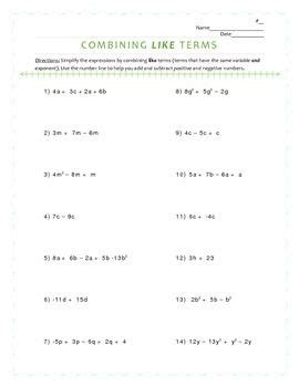 combining  terms  expressions worksheet combining