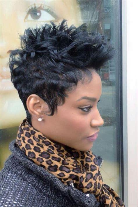 spiky black short hair for african american women Short