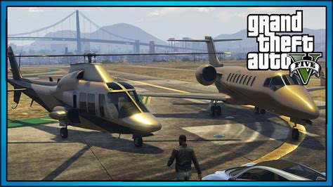 Gold Luxury Plane + Helicopter Showcase!! (gta 5