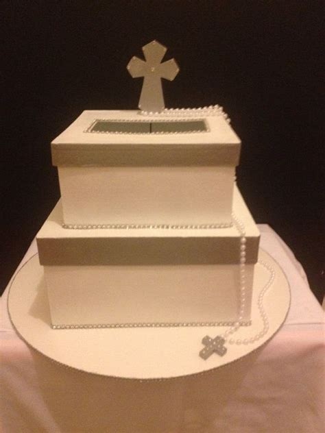 holy communion card box silver  white  etsy