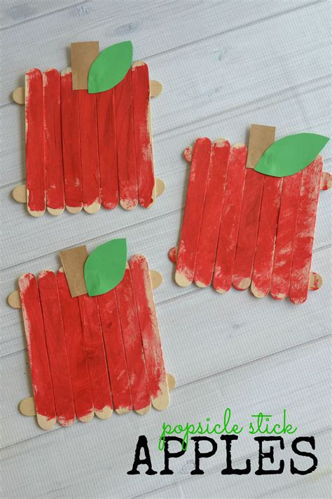 popsicle stick apples kid craft   takes