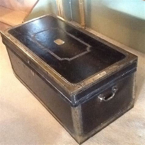 Decorative Metal Banding Uk by Black Leather Trunk With Brass Banding Antique